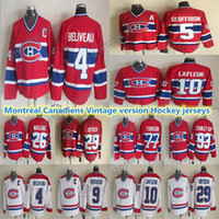 Men's Montreal Canadiens Versione vintage Jerseys 4 Beliveau 29 Dryden 5 Geoffrion 9 Richard 10 Lafleur 93 Stanley Cup 77 Turgeon CCM Hockey