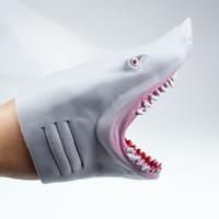 TPR de plástico tiburón marioneta de mano para los guantes Historia TPR Cabeza de animal regalos de juguetes para niños regalo animal Cabeza Figura Vívidamente niños Modelo juguete