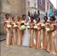 New Designer Simple Long 2019 Economici Abiti da damigella d'oro Off spalla Mermaid Wedding Guest Dress Abiti da damigella d'onore Robes de fête