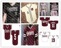 맞춤형 미시시피 상태 불독 대학 야구 유니폼 스티치 화이트 레드 블랙 모든 번호 이름 15 Jake Mangum 4 Rowdey Jersey S-4XL