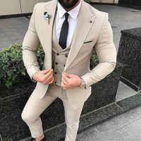 New Beige Männer Anzüge Slim Fit Hochzeit Bräutigam Smoking 3 Stück (Jacket + Pants + Vest) Bräutigam entspricht Bester Mann Blazer 239