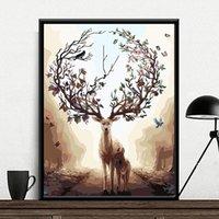 La pittura dai numeri fai da te 40x50 50x65cm Foresta cervi e regalo Bambini Figlio animale della tela di canapa della decorazione di cerimonia di illustrazioni