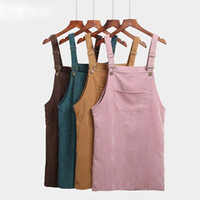 2019 Women Skirts Summer Casual Corduroy Suspender Overall V...