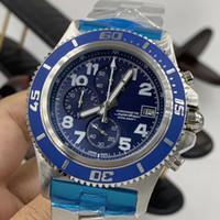 العلامة التجارية الجديدة الأزرق الهاتفي سوبر الحديثة غواص رجل الساعات الكوارتز كرونوغراف الكرونومتر مضيئة الجودة المحيط ووتش الفولاذ الصلب ساعة اليد