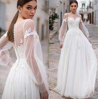 Скромные длинные рукава кружева Bohemia Свадебные платья Shape Jewel Heew Clace Applics A Свадебные свадебные свадебные платья с кнопками
