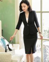 Frühling Sommer Formale Damen Schwarz Rock Anzüge für Frauen Anzüge Blazer Jacke Rock Sets Büro Uniform Style