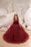 Maroon Lace Flower Girl Dress Kids Toddler Formal Birthday C...