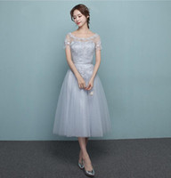 Silver Tea- length Bridesmaid Dresses Scoop Short Sleeves Emp...