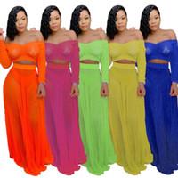 Conjunto de vestido de verano con hombros descubiertos para mujer Conjuntos de dos piezas transparentes de manga larga sin tirantes naranja Tops sueltos camiseta traje de falda larga LJJA2830
