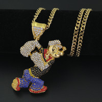 Hip Hop Iced Out Quavo Choker Full Rhinestone Cartoon Popeye Pendent Necklace Present Bling Rapper Jewelry