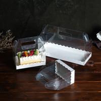 Transparent gâteau rouleau d'emballage Boîte avec poignée écologique clair fromage en plastique gâteau Boîte de cuisson Boîte suisse Rouleau WB2891