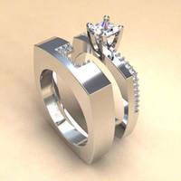 2019 Mulheres Engagement Ring Alliance Emparelhados Set Praça Princesa anéis de casamento Zircon Micro pavimentada prata DDR075 Cor