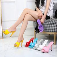 Hausschuh weiblich 2020 neues Wort Sommer fashion13CM wilde net rot sexy Schuhe mit hohen Absätzen mit wasserdichter Plattform Stahl Poltanz
