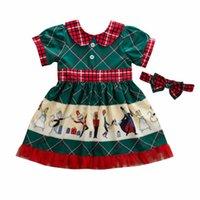 Элегантный Рождественский принт с коротким рукавом платье дети Baby Girls Bowknot Dress Party Pageant XMAS Santa Dress одежда 3FS