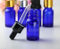 Blaues Glas Tropfflaschen Großhandel Ätherisches Öl Kosmetik Flasche 10ml mit Schwarz-Silber-Gold-Deckel 768Pcs Lot