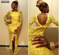 Amazing Yellow African Long 2019 Prom Homecoming Dresses Squ...