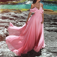 Pink Chiffon Long Evening Dresses V Neck Off The Shoulder Pl...