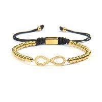 Per sempre amore gioielli Infinity braccialetto d'oro e d'argento della CZ borda il braccialetto con 4 millimetri in acciaio inossidabile per le coppie