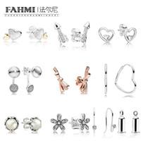 Fahmi 100%925スターリングシルバーローズボウパールデイジードロップレットスパークリングarrow愛イヤリングスタッドの非対称の心