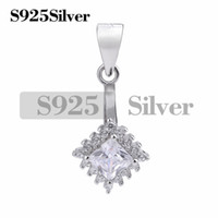 Square Zircons 925 Sterling Silver Pendants Clasps Clips Bai...