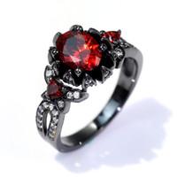 El Süsleme Kaplama Siyah Altın Wujin Seti Kırmızı Garnet Kadın Yüzük