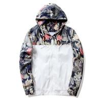 CL Floral Jacket 2018 가을 망 후드 자켓 슬림 피트 긴 소매 톰 유행 윈드 브레이커 코트 브랜드 의류 배송