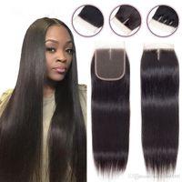 Kenica Hairbrazilian düz saç kapatma virgin İnsan saç dantel kapatma işlenmemiş doğal renk perulu dantel kapatma 8-20 inç 4 * 4 inç