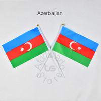 Aserbaidschan flag Banner 10 Teile / los 14x21 cm Flagge 100% Polyester Flaggen Mit Kunststoff Fahnenmasten Für Feier Dekoration Aserbaidschan