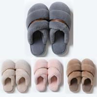 Calidad superior No-Marca Invierno Slipper Mujeres Piel Sandalia Triple Pink Blue Indoor Home Shoes Mantenga las sandalias planas de goma caliente 37-45 Estilo 8