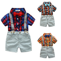 Baby boys Lattice outfits children Plaid Shirt top+ strap+ sho...