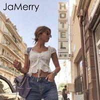 Jamerry Boho Beyaz Kadın Gömlek Ruffled Kadın Oymak Tops Geri Dantel Up Moda Streetwear Bluz Lady En Q190508