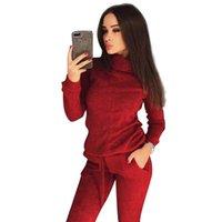 Mvgirlru Şık Örgü Suit Bayan İki Parçalı Setleri Yüksek Boyun Orta Çizgi Kazak + Pantolon Eşofman Kadın Kıyafetler