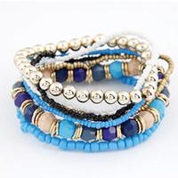 Nueva de la manera manera de las mujeres de múltiples capas de la pulsera exquisita joyería elegante estiramiento del brazalete nuevo de las mujeres