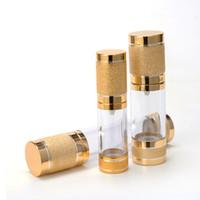 Altın Kozmetik Havasız Şişe 15 ML 30 ML Taşınabilir Doldurulabilir Pompa Dağıtıcı Şişeleri Losyon Kozmetik Konteyner Pembe