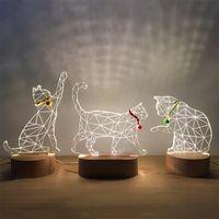3d sólida fonte de alimentação USB de presente de madeira LED gato noite dom luz Hanfeng casa dom Dia dos Namorados 10136