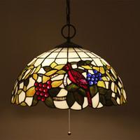 16 بوصة زجاج ملون Hanglamp الأوروبي خمر سلك تبديل نوم ضوء غرفة الطعام غرفة Hanglampen