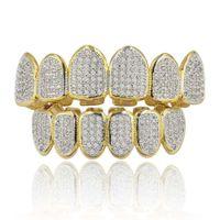 Hip Hop Grillz Calle Hombres Mujeres Moda Grado de calidad de Bling zirconia micro pavimentado dientes tirantes de lujo de cobre chapado en oro 18K Dental Parrillas