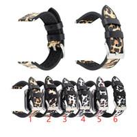Correa leopardo de la manera real de cuero genuino inteligente Banda de reloj para correas de reloj de pulsera de Apple iWatch 4 3 2 1 38MM 40MM 42MM 44mm