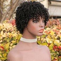 Courte pixie coupée afro kinky cheveux frisés cheveux humains malaisien Remy perruques sans glualité pour femmes noires meilleures machine à cheveux naturels fait perruque avec frange