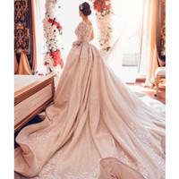 Abiti arabi scintillanti oro abiti da sposa in rilievo maniche lunghe in rilievo abiti da sposa abiti da sposa sexy cappella sexy treno abiti da sposa