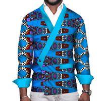 남성 캐주얼 셔츠 클리어런스 판매 아프리카 남성 옷 Bazin Riche 인쇄 셔츠 전통 의류 Wyn165-XH