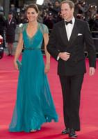 Kate Middleton i Jenny Packham Sheer Lace Chiffon Evening Klänningar med Cap Sleeves Aftonklänningar Formell Kändis Röd Matta Klänningar