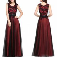 vestidos largos 뜨거운 Burgundy 간단한 댄스 파티 드레스 2019 가장 저렴한 민소매 라인 블랙 Appliqued 층 길이 이브닝 드레스 파티 드레스