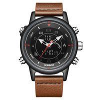Alarma impermeable SmartWatch Bluetooth de la correa de cuero de WEIDE Reloj Digital 5ATM reloj de los hombres de negocios causal Relogio Masculino