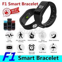 Pressione 100pcs F1 intelligente Guarda Fitness Tracker Wristband Heart Rate Monitor intelligente Banda F1 Smartband sangue con il pedometro Bracciale
