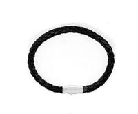 Braccialetti magnetici del cuoio del catenaccio del magnete reale nero 10pcs / lot braccialetti per il regalo 7.5inch LW06 dei monili di DIY Trasporto libero