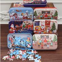 60 pcs / set de Navidad Rompecabezas de madera juguete para niños de Santa Claus rompecabezas de Navidad Niños Temprano Educación de bricolaje Rompecabezas Niños bebé en regalos de Navidad DA253