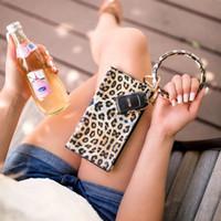2020 Acessórios Oversized Leopard O Bracelet Chaveiro Saco de Compras Carteira da correia de couro Keychain Bangle Key Anel para as Mulheres