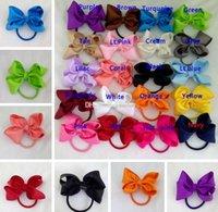 3-Zoll-Säugling großen Bogen Haarbänder Mädchen Grosgrain-Band Haarschleife mit der gleichen Farbe elastisches Stirnband für Pferdeschwanz Halter für Kinder Kopfbedeckung
