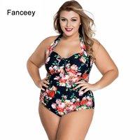Fanceey Frauen Bikini Badeanzug Plus Size Blumendruck Schnür Bademode Einteiler Monokini Badeanzug Beach Wear SYLC41859